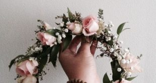 Bohemian Flower Crown // Light pink roses, baby's breath and dark green foliage ...