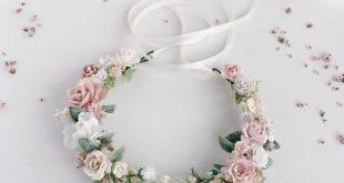 Blush Flower crown, Wedding flower crown, Pink flower headband, flower girl crown