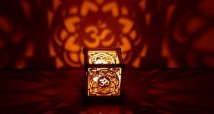 OM Lotus flower wooden tea light Shadow lantern Candle Holder / Hindu Buddhist Mandala New Age Sacred geometry lantern