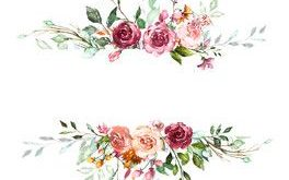 Vintage Card, Watercolor wedding invitation design with pink rose, bud and leave...