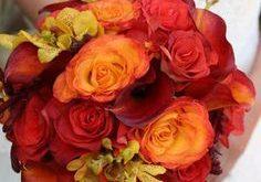 full wedding bouquet red orange flowers
