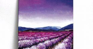 Lavender Field Acrylic Painting Art Print 8x10, Purple Flower Field, Purple Sunset Sky
