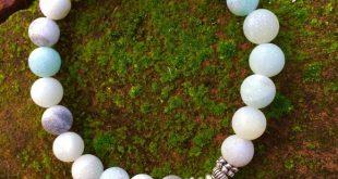 Lotus Flower & Amazonite Bracelet Natural matte Amazonite beads surround the pr...