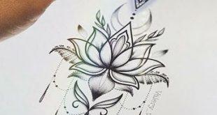 Desenhos para tatuagem de flor de lótus – 30 modelos #flowertattoos
