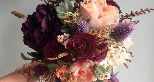 Fall Wedding Bouquet, Silk Wedding Bouquet, Rustic Bridal Bouquet, Burgundy Bouquet, Autumn Flower B