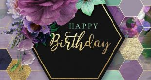 Happy Birthday Purple Flower Bouquet with honeycomb / hexagon background meme / ...