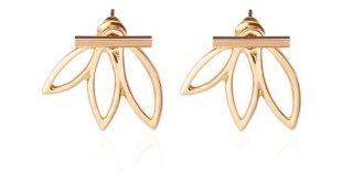 Hollow out lotus flower earrings stud earrings jewelry accessories double sided boucles d'oreilles ek116