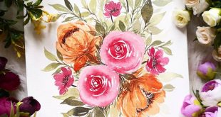 I regret painting those orange flowers. But I love the composition of this bouqu...