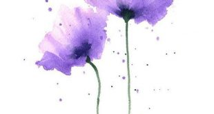 Mohnblumen Kunstdruck - lila Blume Wand Dekor - Aquarell Aquarellmalerei
