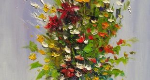 ORIGINAL Oil Painting MADE2ORDER Palette Knife Colorful Flowers Green Vase Yello...