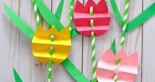 Pretty paper straw tulip craft for kids, perfect for a spring kids craft, spring...