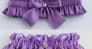 Purple flower bridal garter