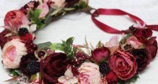 Ready to ship Burgundy wine pink flower crown Bridal floral crown Wedding hair w...