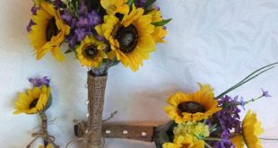 Sunflower wedding Country wedding 4 piece Sunflower Bouquet set twine wrap shabby chic bouquet