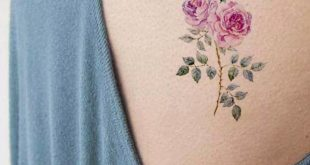 Traditional Pink Rose Rib Tattoo Ideas for Women - Watercolor Vintage Floral Flo...