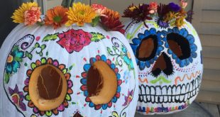 #sugarskulls #pumpkins pumpkin sugar skull diadelosmuertos flowers flower crown ...